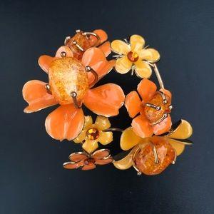 Vintage Baltic Amber & Enamel Flower Bracelet